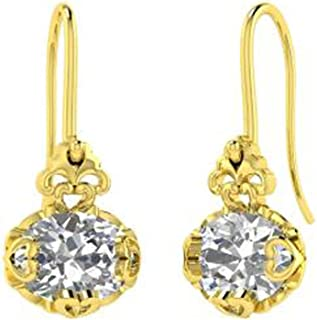 TrioStar 2.69 CT Round Cut Diamond Pave Set 14k White Gold Plated Domed Circle Stud Earrings