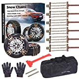 FUN-DRIVING Tire Chains,Snow Chains for SUV,Truck,RV of Tire Width 8.5-12.4 inch,Heavy Duty,Thickened,Adjustable,Durable (6 Pack)