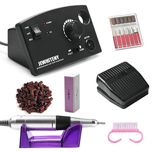 JEWHITENY Professional Nail Drill Machine 30,000RPM, Light Electric Acrylic Nail File Kits for Remove Nail Gel Polish, Manicure Machine Design for Home Salon Use, 110-240V(Black)