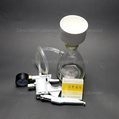 Deschem 500ml,Filtration Buchner Funnel Kit,Suction Flask,Handle Vacuum Pump,Filter Pape