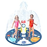 "Vigeiya Splash Pad for Toddlers 68"" Inflatable Rocket Water Sprinkler for Kids Fun Outdoor Wading Pool Toys for Yard"