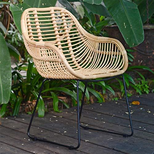 Casa Moro Rattan-Sessel Malaga mit Armlehne Korbstuhl aus Naturrattan handgeflochten | Premium Qualität Korb-Stuhl Vintage Korb-Sessel | Retro-Stuhl für Küche Garten Terrasse Esszimmer | IDSN55