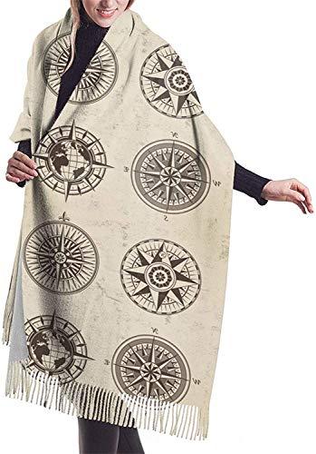 Bufanda Vintage Compass Mujer,Moda Impreso Borla Poncho Capa,Cardigan Wrap Chal