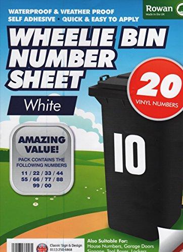 CrazyGadget Wheelie Bin Number Sheet Self Adhesive Water Proof Numbers for Wheelie Bins Recycling Bins House Garage Lockers Door Number Stickers - White