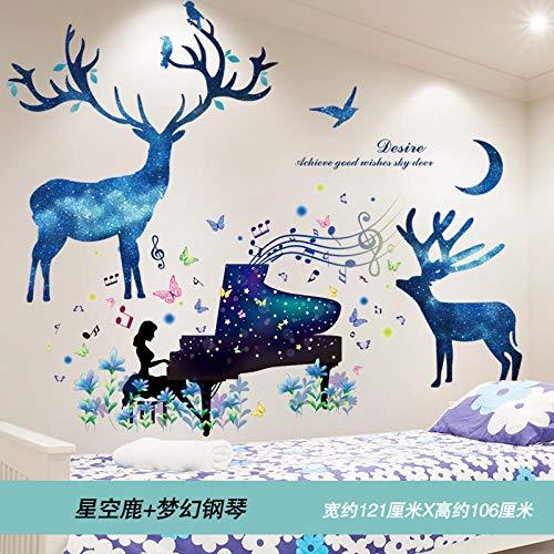 Home Wandtattoo Tapete selbstklebende Wanddekoration Wandtattoo Kreative Hintergrundtapete-Starry Deer + Dream Piano_Big