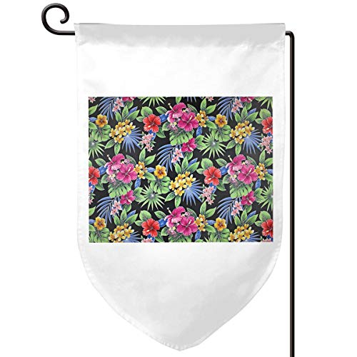 NOT Hawaiian Hibiscus Palm Plumeria Orchid Pattern, Outdoor Decor Garden Flag for All Seasons and Holidays Vertical Double Sided 12.5 X 18 Inch Square