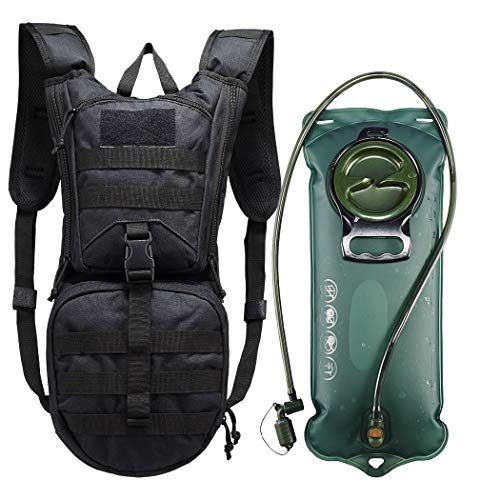 vAv YAKEDA Tactical Hydration Pack Backpack 900D with 25L TPU Water Bladder for Mountain Biking Hiking RunningHunting Walking and Climbing Black
