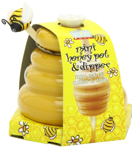 Joie Ceramic Beehive Honey Pot and Wooden Dipper, Mini