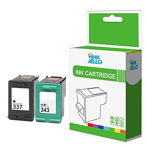 InkJello Kompatible Ersatz Tinten patrone für HP Photosmart 2570 2573 2575 2575a 2575v 2575xi 8049 8050 8050xi C4100 C4140 C4150 C4160 C4180 C4183-337/343 (Schwarz, Farben 2 Stück)