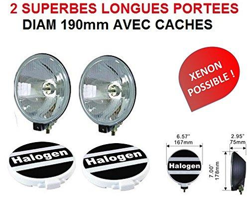 LCM2014 2 Longues PORTEES 19CM Ultra-Fins avec CACHES Rallye Inclus ! Raid Preparation 4X4 Hella Oscar LIGHTFORCE CIBIE KCLITE