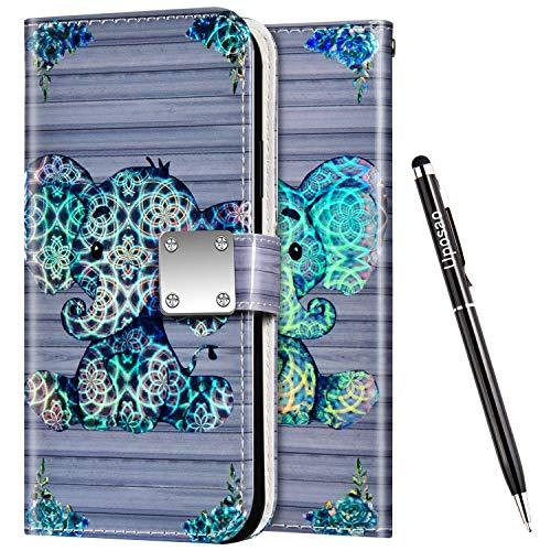 Uposao Kompatibel mit Samsung Galaxy S10 Handyhülle Leder Hülle Glitzer Bling Glänzend Bunt Muster Schutzhülle Flip Case Brieftasche Klapphülle Ledertasche Ständer Kartenfächer,Elefant