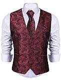 iClosam Men 3 Pieces Set Vest Waistcoat Suit Dress Vest Tuxedo Vest for Business Wedding Party Wine Red