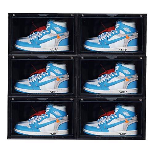 LIZIXH Gaobang Basketball-Schuhe Transparente Aufbewahrungsbox Acryl Magnet Antioxidations feuchtigkeitsfest Sammlung Schuh Kombination Vitrine (Color : Black, Size : 6)