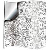 24x Gris blanco Lámina impresa 2d 15x15cm PEGATINAS lisas para pegar sobre azulejos cuadrados de...