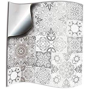 24x Gris blanco Lámina impresa 2d 15x15cm PEGATINAS lisas para pegar sobre azulejos cuadrados de 15cm en cocina, baños resistentes al agua y aceite