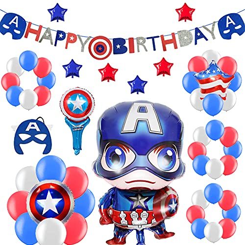 52 PACK Hero Birthday Party Decorations for Kids - Happy Birthday Banner, Colorful Balloons, Super Hero Mask, Wand   Birthday Supplies Set for 1st 2nd 3rd 4-12 year boys