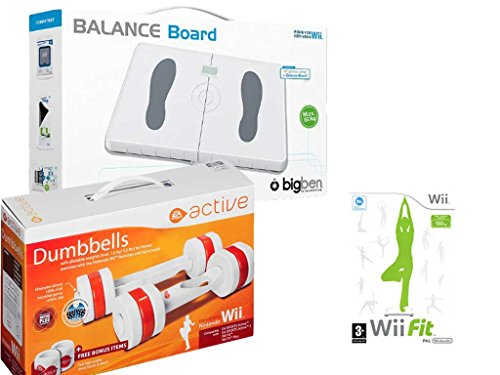 Eliware Wii - Tabla de Equilibrio BigBen con Mancuernas activas de EA y el Juego Wii Fit