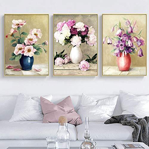 Moderne Abstracte Bloem in een Vaas Orchidee Canvas Schilderij Posters en Prints Cuadros Wall Art Pictures Woonkamer Home Decor-50x70cmx3 pcs (geen frame)