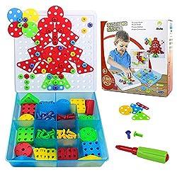 Akokie Steckspiele Mosaik Puzzles Kinder Pädagogisches Spielzeug Bausteine mit einem Schraubendreher und Schrauben für Kinder über 3 Jahre , MEHRWEG