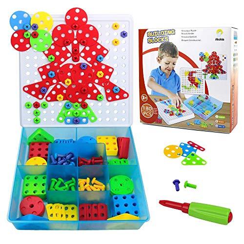 Giocattoli Bambina Puzzle 2D Bambini Costruzioni Giocattoli - 180 Pezzi con Cacciavite Giochi Creativi Educativi Montessori Idee Regalo per Ragazzi Ragazze Bambini 3 4 5 Anni