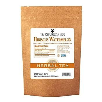 The Republic Of Tea Hibiscus Watermelon Superflower Herbal Tea 36 Tea Bags Citrus Berry Flavored Tea