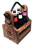 Personalized Wood Beer Caddy with Bottle Opener and Magnetic Bottle Cap Catcher. Handmade Rustic Wooden Six Pack Tote/Carrier - Boxed...