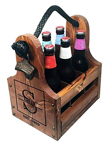 Personalized Wood Beer Bottle Caddy