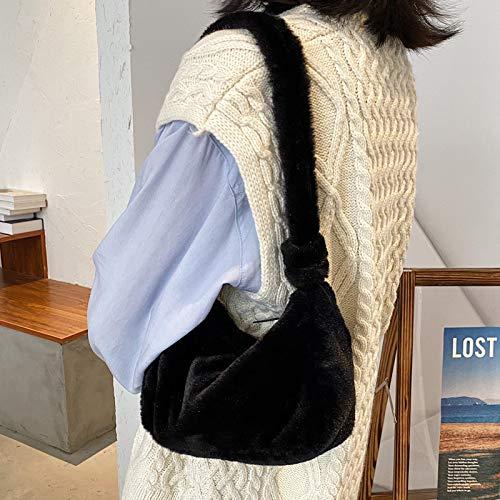 Damen-Handtasche aus Kunstfell, flauschiger Plüsch-Reißverschluss, Mini-Handtasche, Winter, schick, Telefon, Schlüssel, Lippenstift, Geldbörse