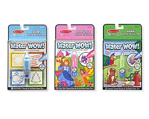 Melissa & Doug On the Go Water Wow! 3-Pack (The Original Reusable Water-Reveal Coloring Books - Shapes, Fairy Tale, Animals - Great Gift for Girls and Boys - Best for 3, 4, 5, 6, and 7 Year Olds)