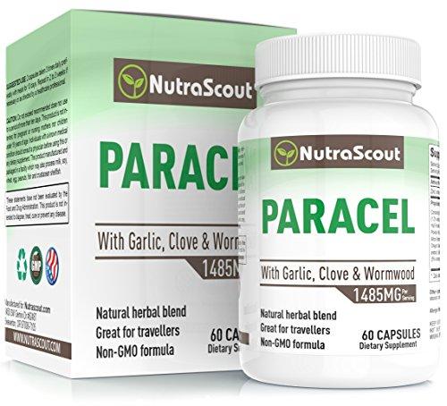 Paracel Intestinal Cleanse | Wormwood, Black Walnut, Clove, PAU D'Arco & Goldenseal | Intestinal Detox for Adult Humans | 100% Money Back Guarantee | 60 Capsules