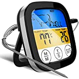 Digital Touchscreen Food Thermometer for Meat Poultry Fish Cooking in Frying Pan Smoker Oven BBQ Grill with Sensitive Color LCD Display | All Temperature and Timer Modes | Best Taste Results (Silver)