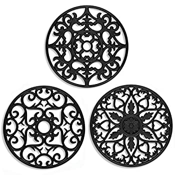 ME.FAN 3 Set Silicone Multi-Use Intricately Carved Trivet Mat - Insulated Flexible Durable Non Slip Coasters  Black