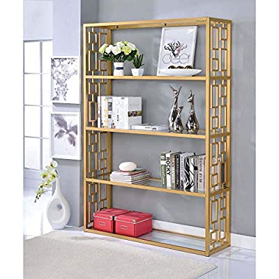 MYTUNES Bookshelf in Gold  Clear Glass