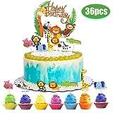 Decoración de pasteles decoración de pasteles cumpleaños de animales, 36 piezas tema de animales topper de la torta feliz cumpleaños selva guirnalda cupcake topper decoración de pasteles accesorios