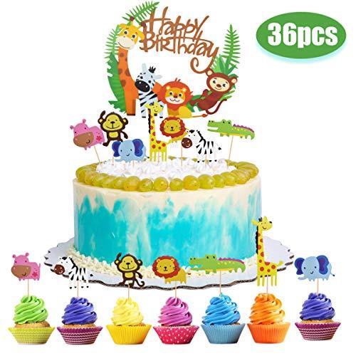 Tortendeko Kuchendeko Tiere Geburtstag, 36Pcs Tierthema Kuchen Topper Happy Birthday Dschungel Girlande Cupcake Topper Cake Kuchen Deko Kindergeburtstag Partyzubehör für Kinder Baby Mädchen Junge