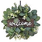 XINMINGREN Eukalyptus Kranz Sonnenblume Blätter Zweig Girlande Willkommensschild Türkranz...