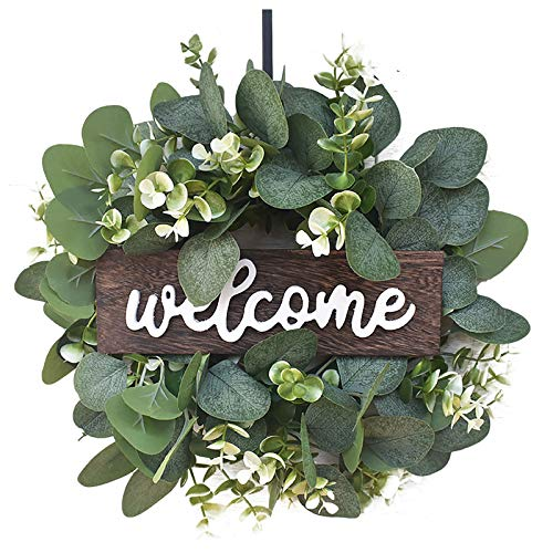 Welcome Sign Wreath, Artificial Simulation Leaf Flower Wreath Garland for Front Door Window Wall Porch, Hanging Flora Wreath for Mother's Day, Summer Silk Flowers Decorations, 12 Inch