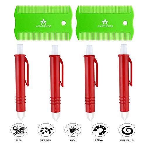 AMATHINGS Set van 6 vachtverzorgingsset voor honden en katten, met 4 teken tangen/teken pincet en 2 stuks tekkamm/tekkam, 4 tangen (groen/rood) + 2 kammen.