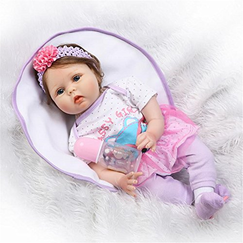 NPK Realistic Reborn Baby Doll Girl 22' Soft Silicone Vinyl Lifelike Handmade Weighted Baby Toddler Gifts cute doll purple outfit Gift Set for Ages 3+