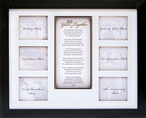 "The Grandparent Gift Co. 50th Anniversary Collage Picture Frame - 11""x14"" Photo Wall Frame with 6 (3"" x 2.75"") Openings and a Beautiful Poem Displayed in Center - ""50 Years Together"""