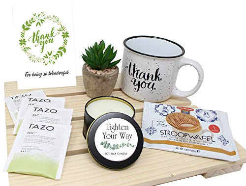 THANK YOU Gifts basket for women | Employee appreciation gifts | Gratitude Unique care package for Friend, Coworker, Nurse, Doctor, sister, Employee retirement gift, variety gift set box w/ Candle.