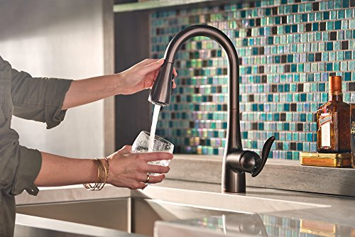 Moen 7594ORB Arbor One-Handle Pulldown Kitchen Faucet Featuring Power Boost and Reflex, Oil Rubbed Bronze