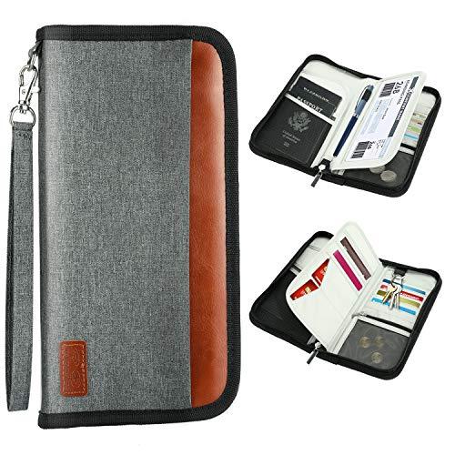 Portafogli da Viaggio, WisFox Porta Passaporto Portatile da Viaggio e Portafogli Organizer con Blocco RFID Documento per Passaporti, Carte di Credito, Biglietti Aerei Accessori da Viaggio(Grigio)