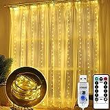 Bigzom Luces de Cadena de Cortina, 3x 3m 300 LED USB cortina luces con Mando a Distancia 8 Modos de Luz, cortina luces led exterior,Resistente al aguapara para Decoración Ventana,Navidad,Fiestas