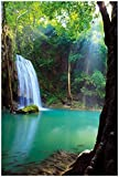 Wallario Poster - Wasserfall im Wald am See Idylle in