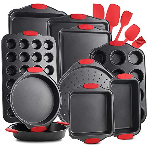 EatEx Nonstick Carbon Steel Bakeware Set-15-Piece Tray Set with Silicone Handles Oven Safe Cookie Sheets, Baking Pans, Cake Loaf, Muffins & Bread Pan & More, Black