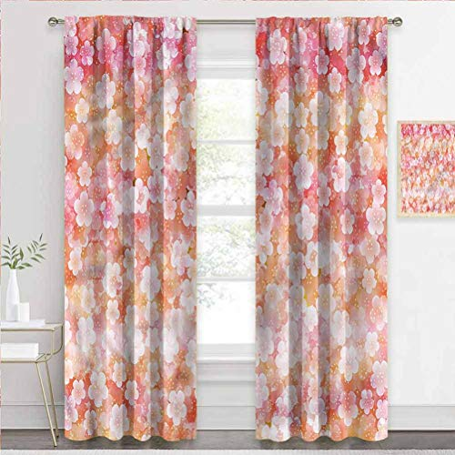 painting-home Blackout Window Curtains Floral, Summer Season Plum Flower Noise-Canceling Curtains Easy Care, Nice Look, Soft W55 x L39 Inch