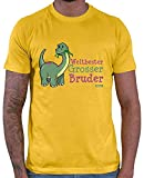 Hariz – Camiseta para hombre, diseño de dinosaurio con texto en alemán dorado amarillo XXL