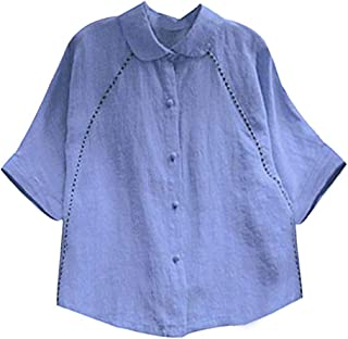 EVEDESIGN Women's Peter Pan Collar Fitted Shirts