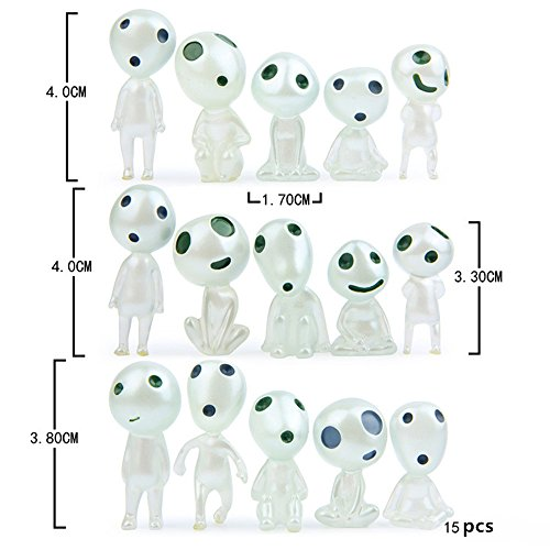 Kimkoala Mononoke Princess Toys, 15 Pcs Resin Luminous Tree Elves Miyazaki Cartoon Action Figure Dolls for Gardening Micro Landscape Potted Decoration